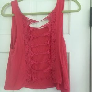 Open back red tank